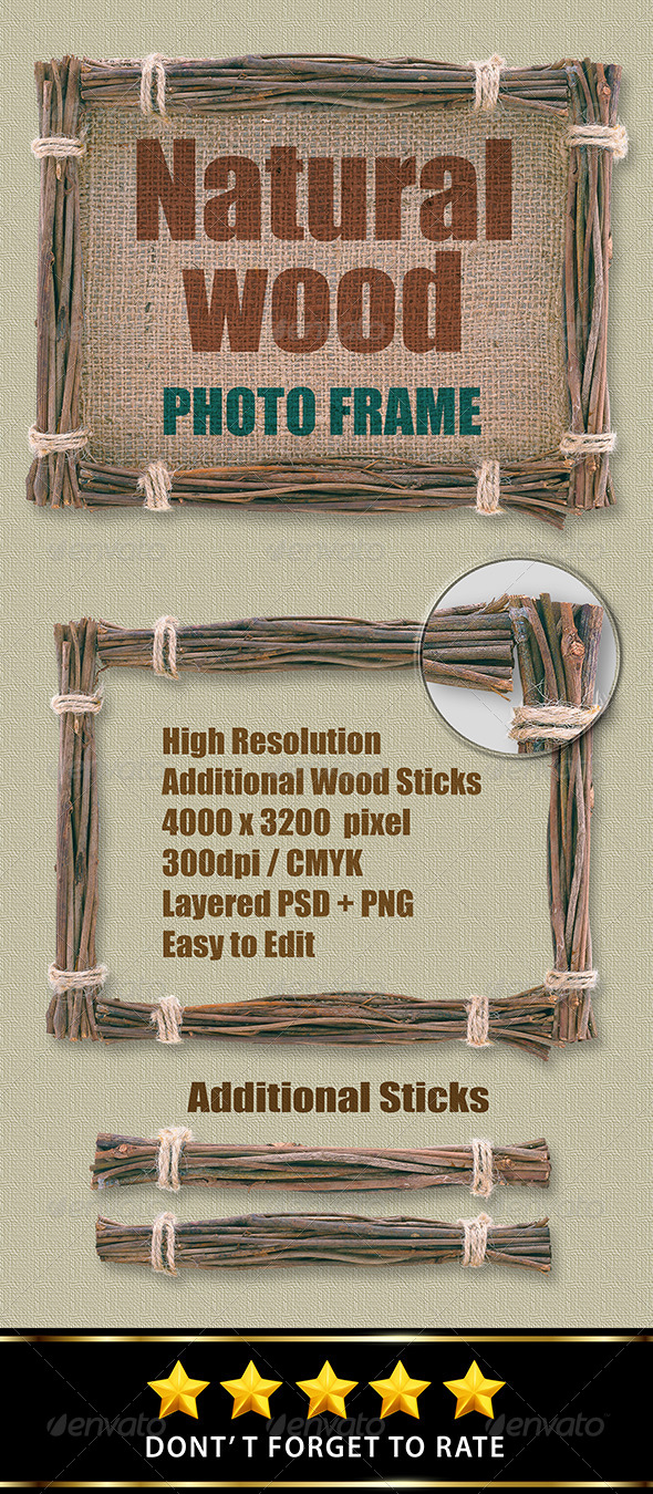 GraphicRiver Isolated Natural Wood Frame 8064983