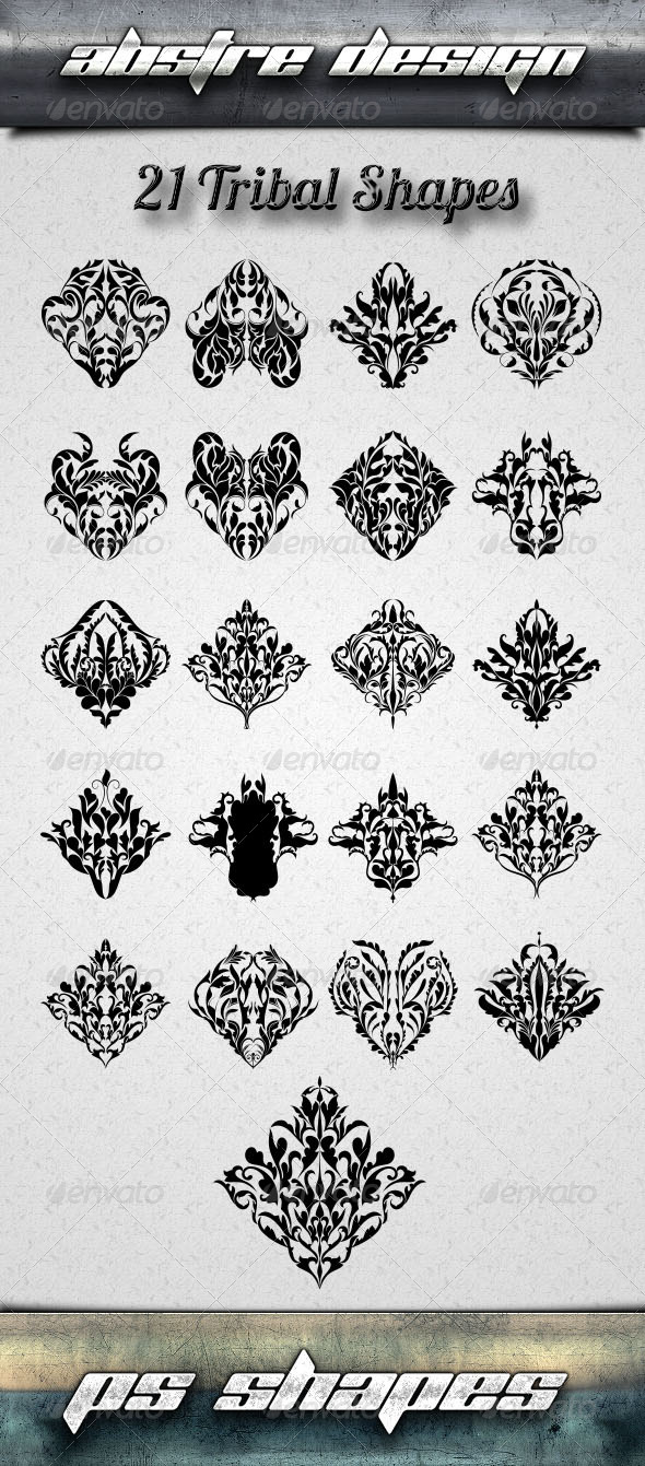 GraphicRiver 21 Tribal Shapes 8065019