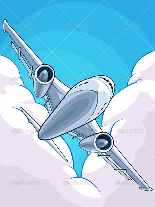 GraphicRiver Airplane Flying Through Cloudy Sky 8065030