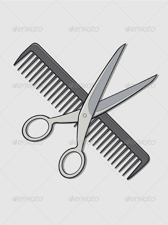 GraphicRiver Barber Scissor and Comb 8065496