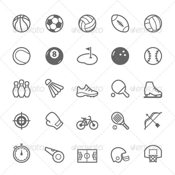GraphicRiver 25 Outline Stroke Sport Icons 8065497