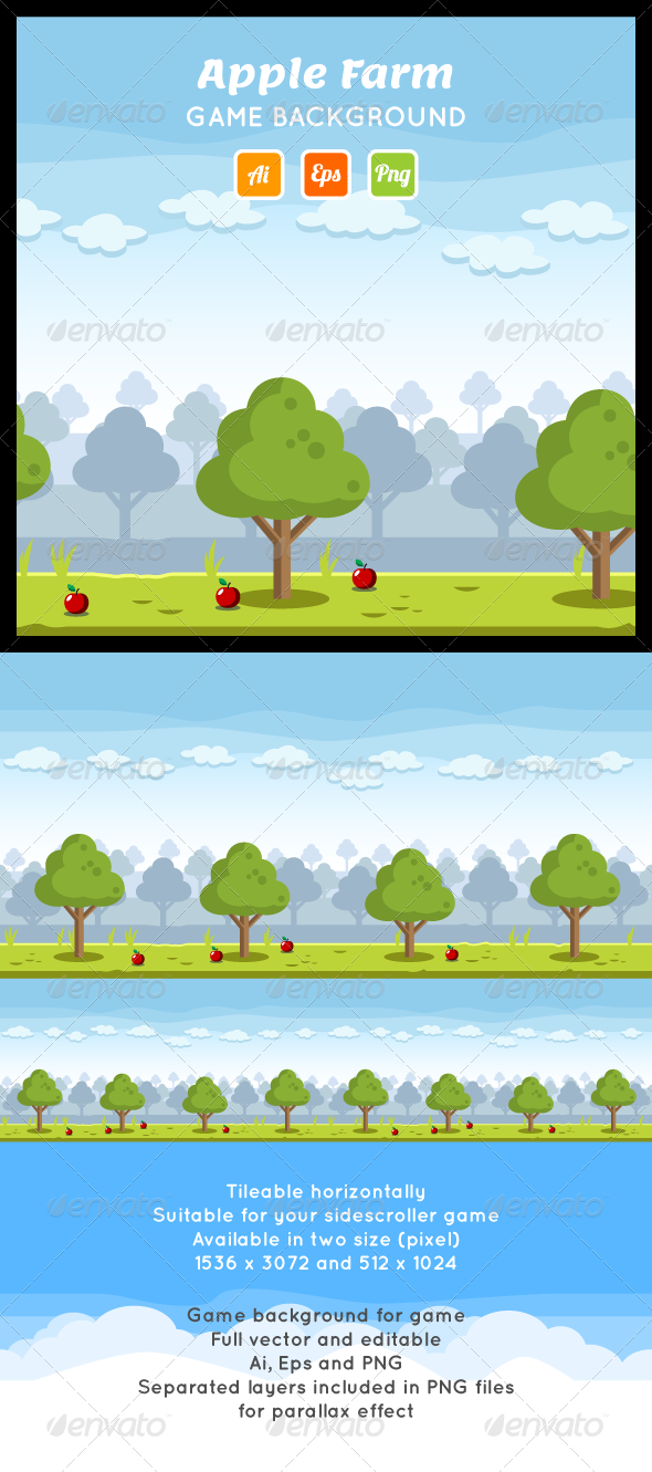 GraphicRiver Apple Farm Game Background 8065590