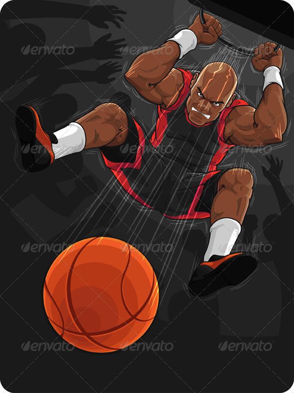 GraphicRiver Basketball Player Doing Slam Dunk 8065804