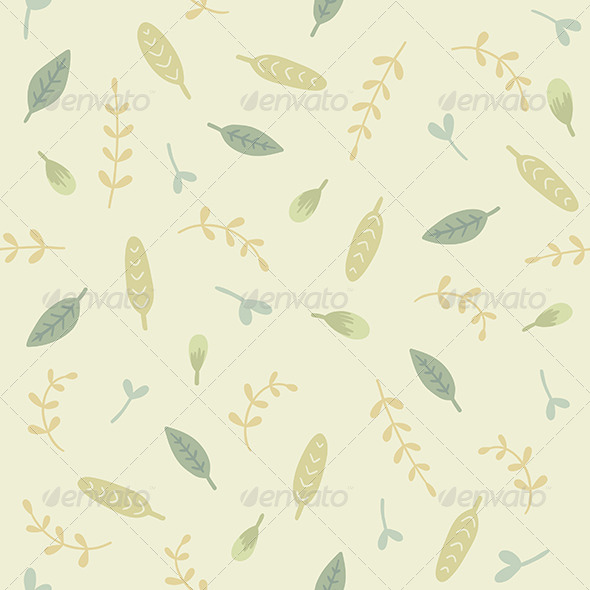 GraphicRiver Green Leaves and Branches Pattern 8065815