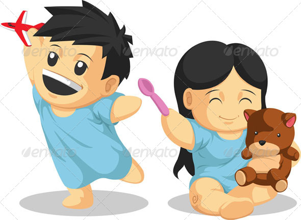 GraphicRiver Boy & Girl Patient Playing Healthily 8066036