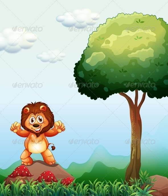 GraphicRiver Lion Standing Near a Tree 8066043