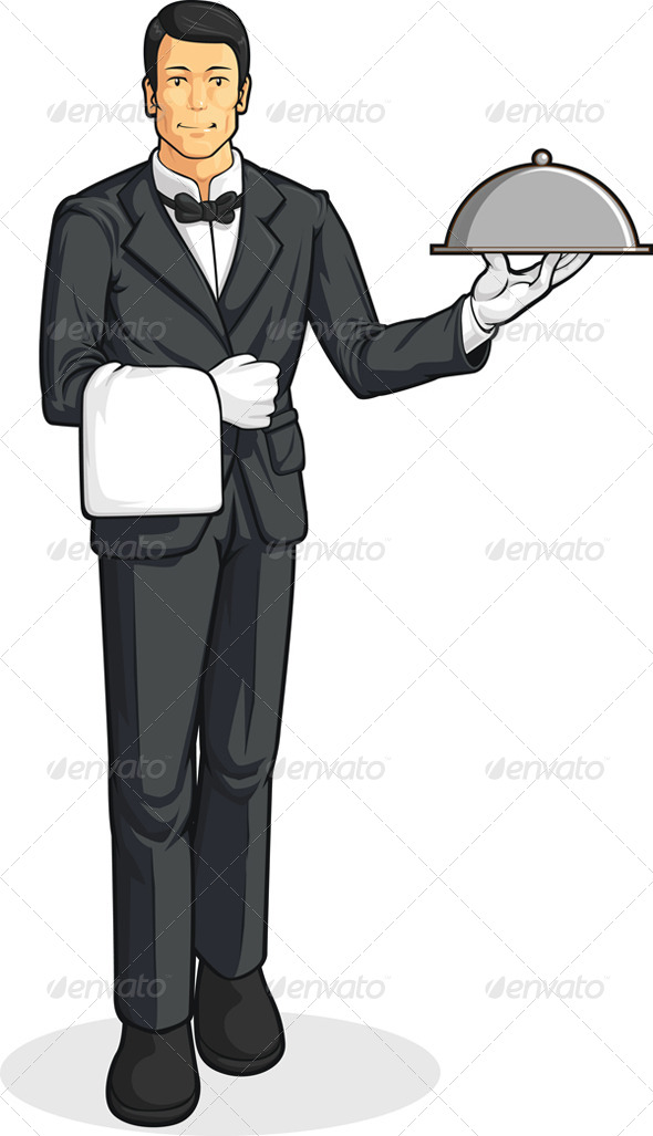 GraphicRiver Butler or Waiter Serving Tray of Food 8066059