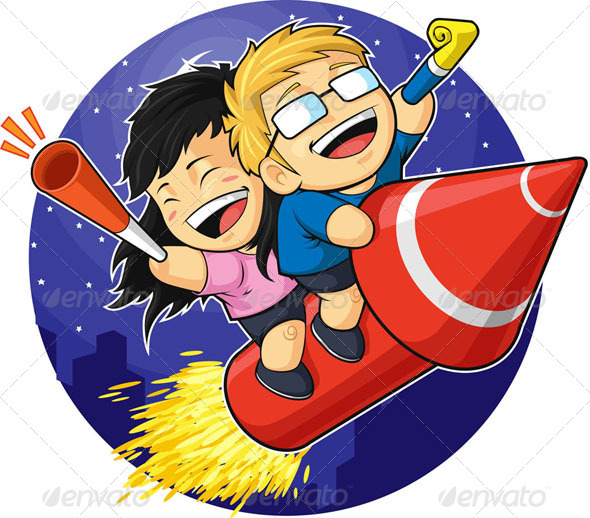 GraphicRiver Boy & Girl Riding New Year Firework 8066239
