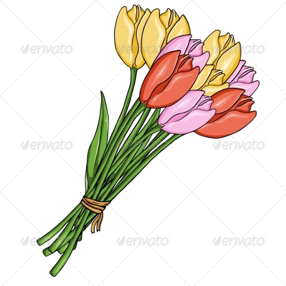 GraphicRiver Cartoon Bouquet of Colored Tulips 8067264