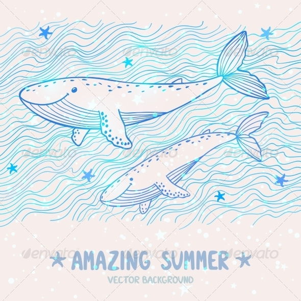 GraphicRiver Whales Silhouette 8067386