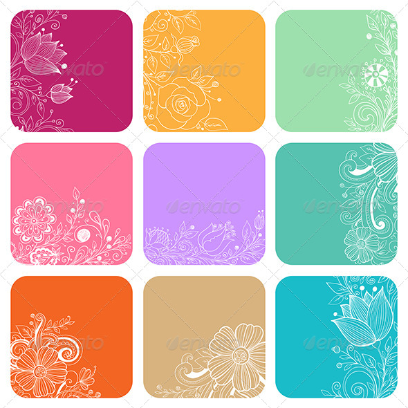 GraphicRiver Decorative Cards with Flowers 8067437