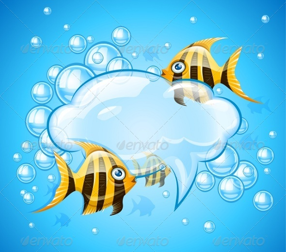 GraphicRiver Bubbles Cloud in Aquarium with Gold Fishes 8067558