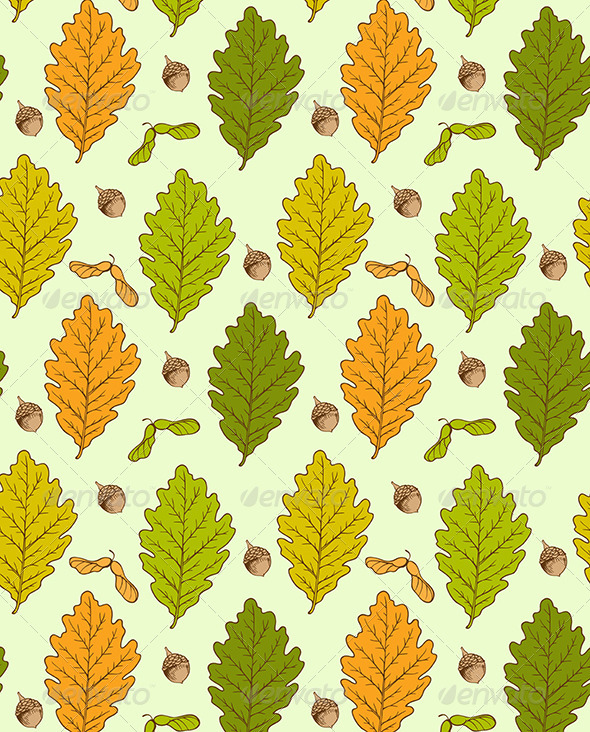 GraphicRiver Oak Leaves and Acorns 8067708