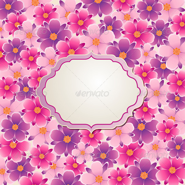 GraphicRiver Background with Pink and Violet Flowers 8067745