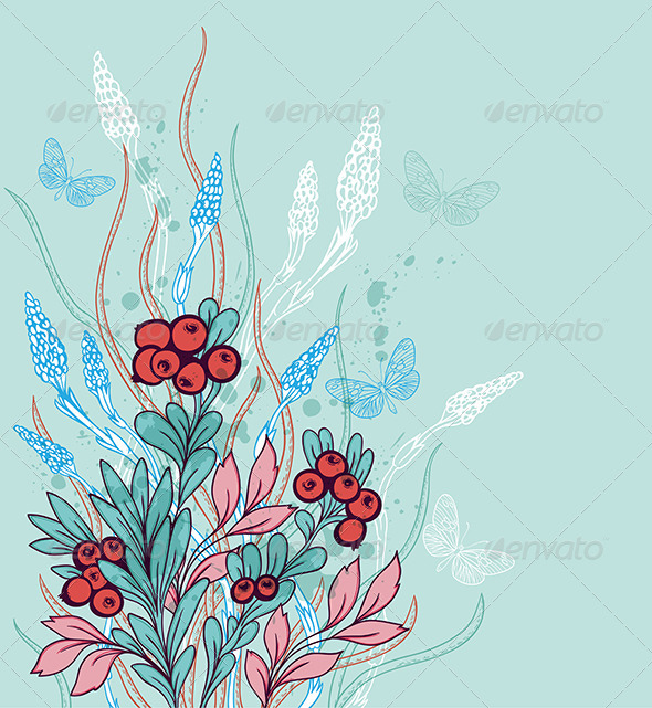 GraphicRiver Background with Berries and Butterflies 8067770