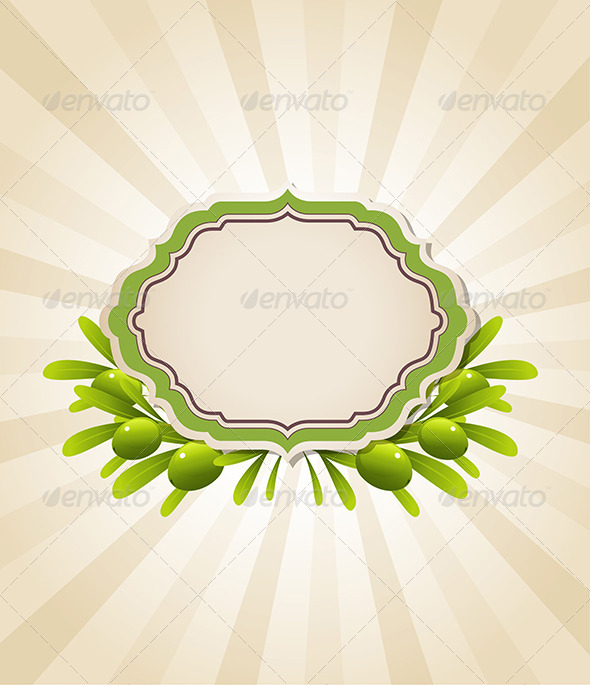 GraphicRiver Label and Green Olive Branches 8067787