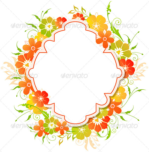 GraphicRiver Background with Red and Yellow Flowers 8067838