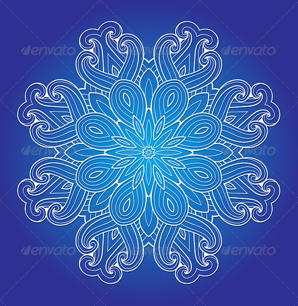 GraphicRiver Round Ornament on a Blue Background 8067854