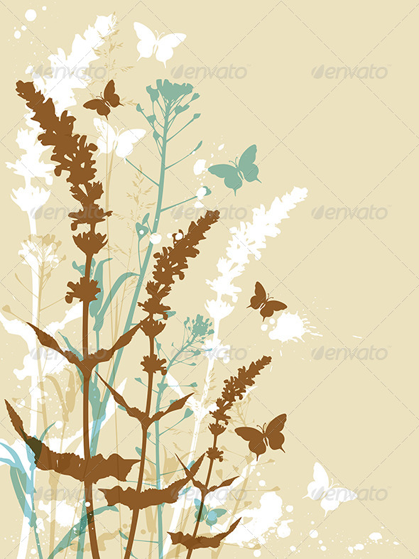 GraphicRiver Floral Background with Butterflies 8067878