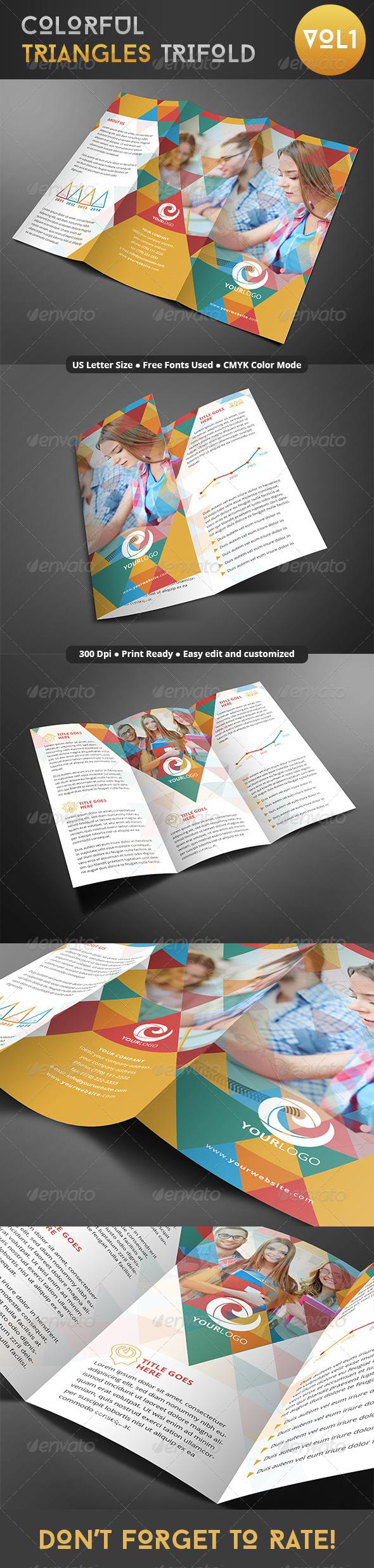 GraphicRiver Colorful Triangles Trifold 8067925