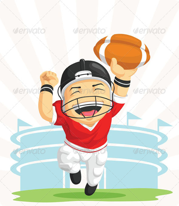 GraphicRiver Happy American Football Player 8067948