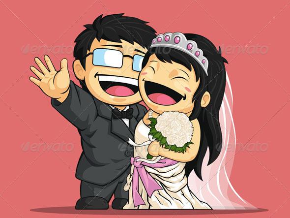 GraphicRiver Happy Bride & Groom 8068035