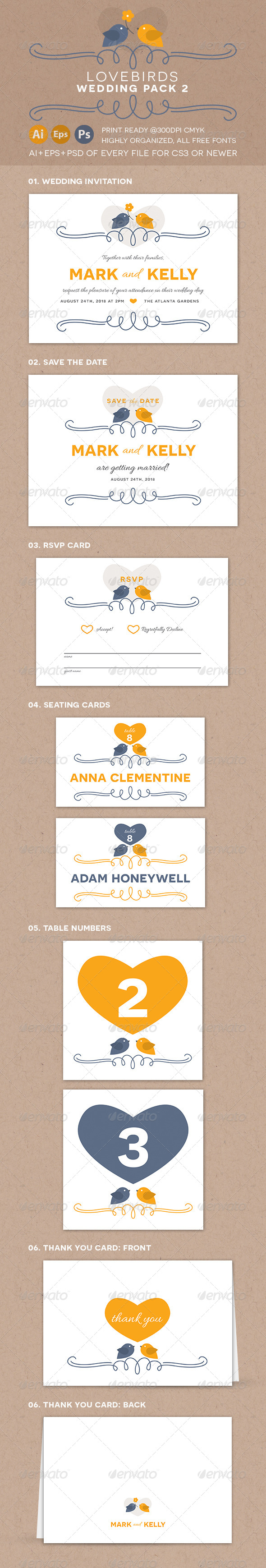 GraphicRiver Lovebirds Wedding Pack 2 8069172