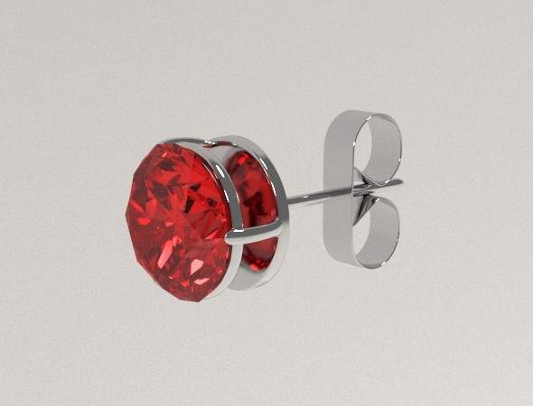 3DOcean Silver Ear Stud with Rubin 8069205