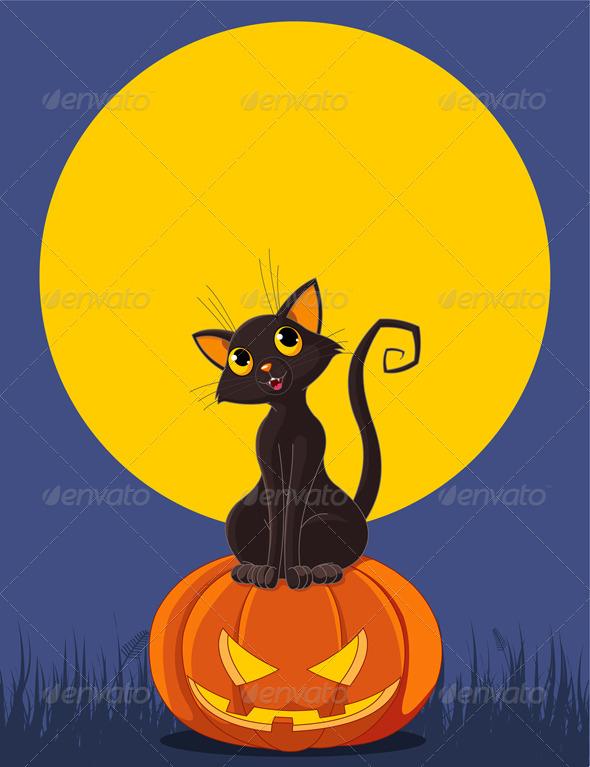GraphicRiver Halloween Cat on Pumpkin 8069405