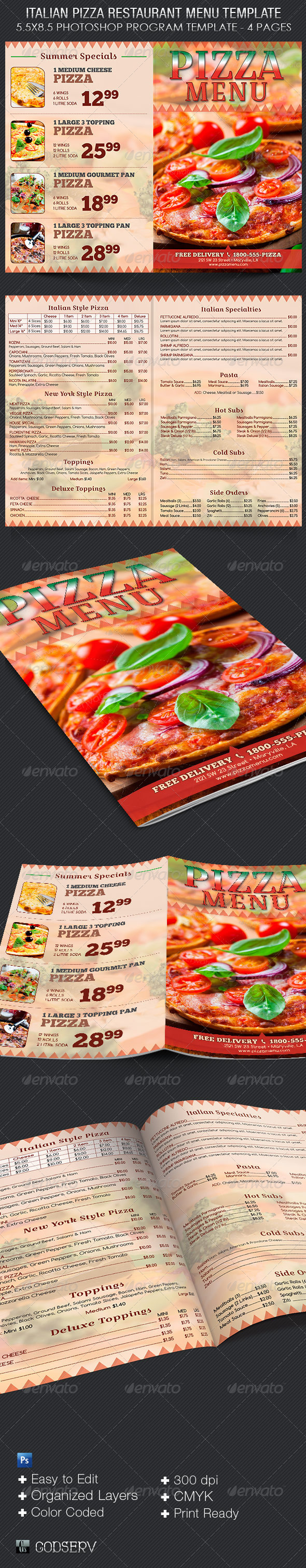GraphicRiver Italian Pizza Restaurant Menu Template 8069936