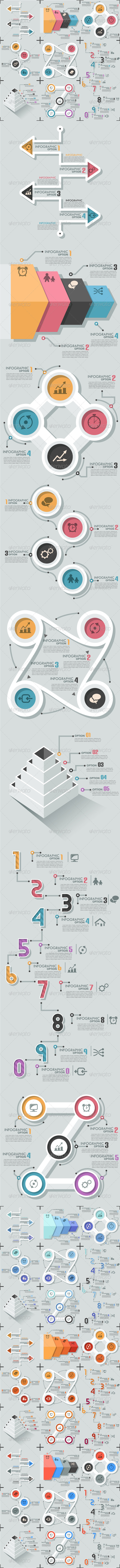 GraphicRiver Set Of 8 Flat Infographic Options Templates 8069946