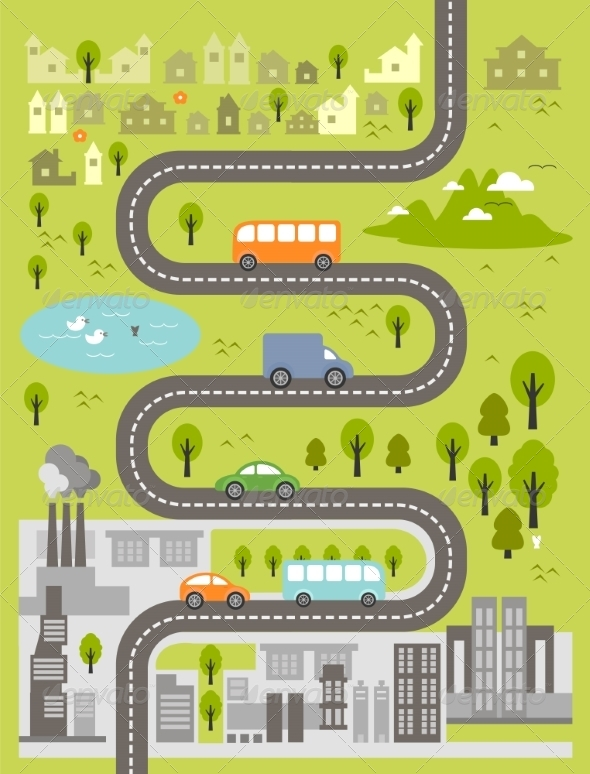 GraphicRiver Cartoon Map of Small Town and Big City 8070010