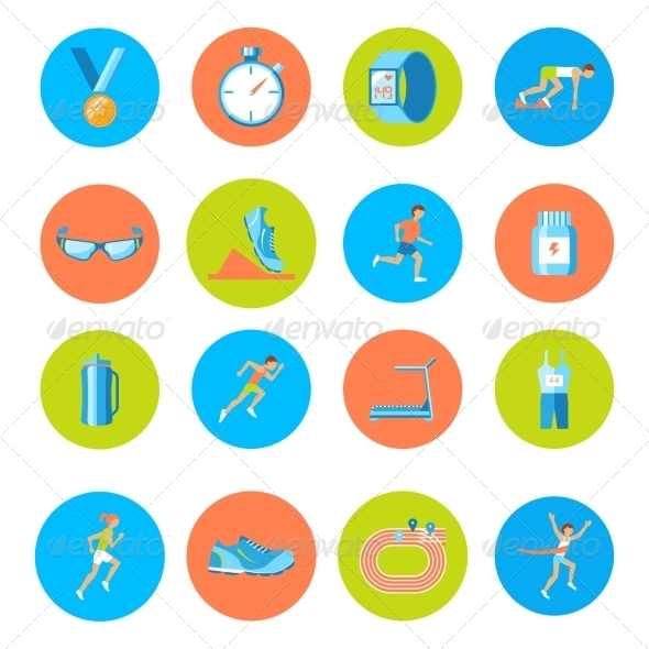 GraphicRiver Running Icons Round 8070386