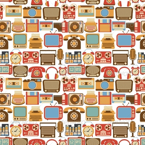 GraphicRiver Vintage Gadget Seamless Pattern 8070448