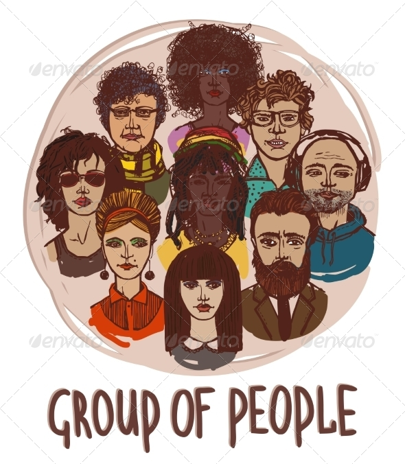 GraphicRiver Sketch Group of People 8070455