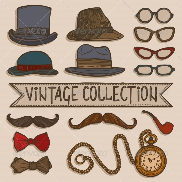 GraphicRiver Vintage Hats and Glasses Set 8070460
