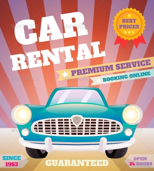 GraphicRiver Car Rental Retro Poster 8070473