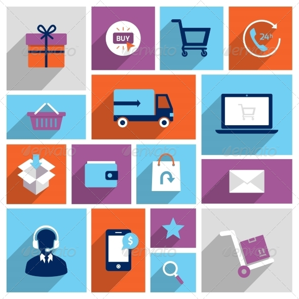 GraphicRiver Shopping E-commerce Icons 8070535