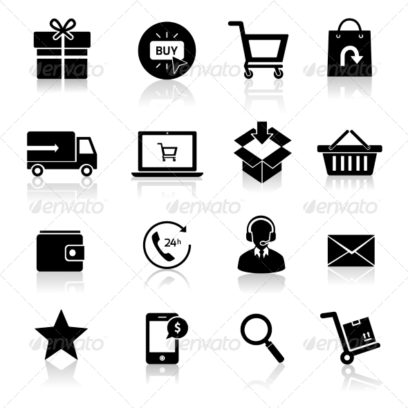 GraphicRiver Shopping E-commerce Icons 8070538