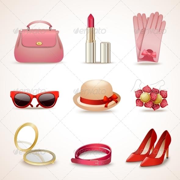 GraphicRiver Woman Accessories Icon Set 8070555