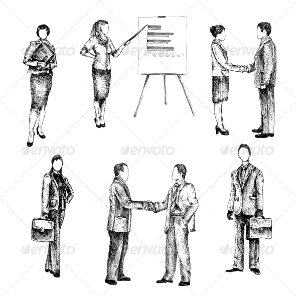 GraphicRiver Business People Sketch Set 8070575