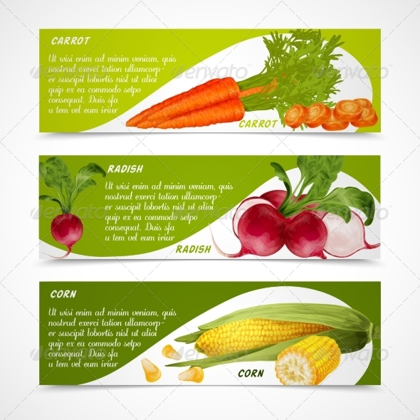 GraphicRiver Corn Radish Carrot Banners 8070595