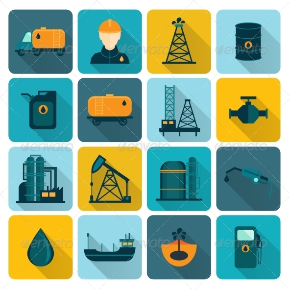 GraphicRiver Oil Industry Flat Icons 8070598