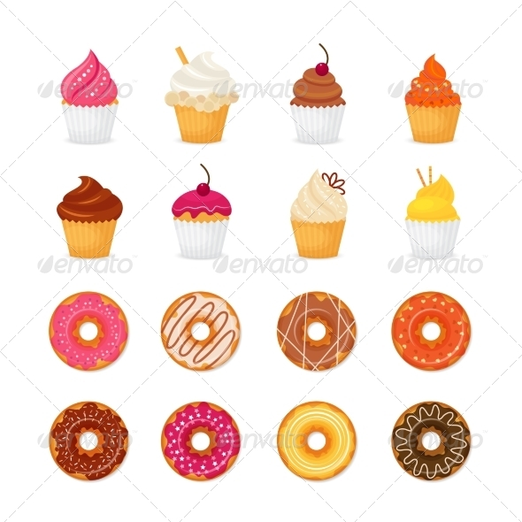 GraphicRiver Donut Cupcake Icons 8070609