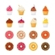 Donut Cupcake Icons - GraphicRiver Item for Sale