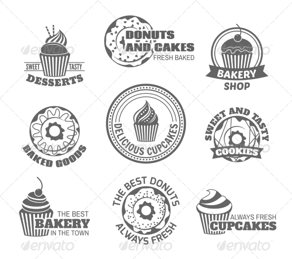 GraphicRiver Donut Cupcake Labels 8070611