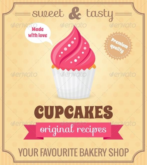 GraphicRiver Cupcake Retro Poster 8070616