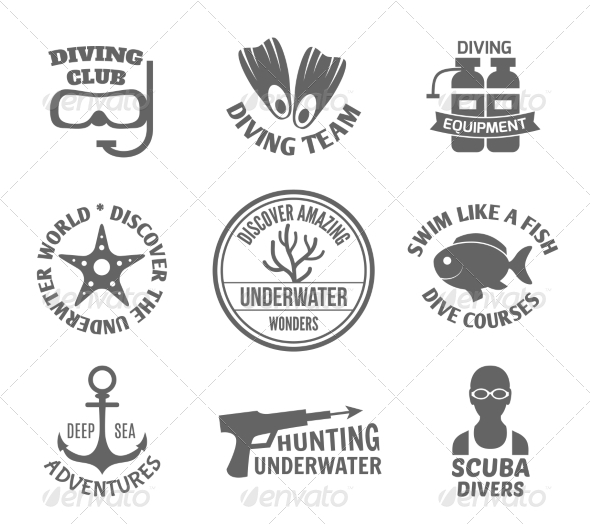 GraphicRiver Diving Label Set 8070625