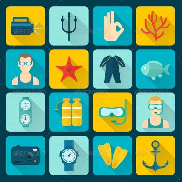 GraphicRiver Diving Icons Set 8070627