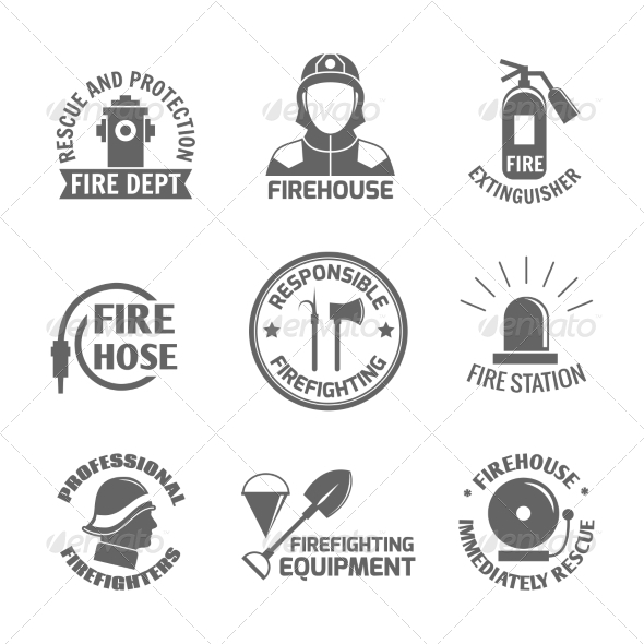 GraphicRiver Firefighting Label Set 8070628